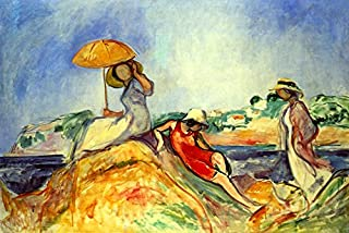 THE YELLOW PARASOL THREE WOMEN ON BEACH ROCK SUN OCEAN PAINTING BY HENRI LEBASQUE IMAGE SIZE 16