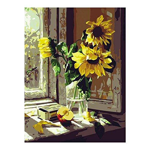 XtraCare DIY Malen Nach Zahlen Abstrakt Nachmalen für Erwachsene mit Acrylfarben - Rahmenlose, 40 * 50cm, Sonnenblume am Fenster