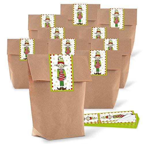 10 braune natur Wichtel Geschenk Tüten Weihnachts-Verpackung 14 x 22 x 5,6 cm + 10 rot weiß grüne Aufkleber zum Wichteln 5 x 15 cm Verpackung zum Befüllen Süßigkeiten give-away Kinder Erwachsene
