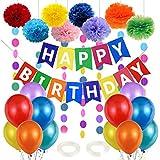 Kindergeburtstag Deko, Geburtstagsdeko Kinder, Geburtstags Deko Jungen Mädchen, Luftballon Geburtstag, Happy Birthday Wimpelgirlande, 8 Pompoms, 6 Meter Girlande, 24 Luftballons Bunt