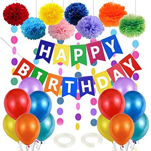 Globos de Cumpleaños, Decoracion Cumpleaños Infantil, Guirnalda Feliz Cumpleaños, Adornos Cumpleaños, Globos de Fiesta de Diversos Colores y Pompones para Niña Niño 1 año, 2 años