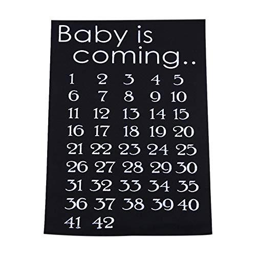 Sunbaca O bebê está chegando Maternidade Mulheres Calendário Contagem regressiva Gravidez Mark Off Anúncio do bebê Contagem regressiva do nascimento do bebê 42 semanas Acessório de pano Preto