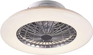 Ventilador de techo LED de 50 cm de diámetro con mando a distancia y temporizador, luz nocturna, efecto estrellas, color blanco y plateado
