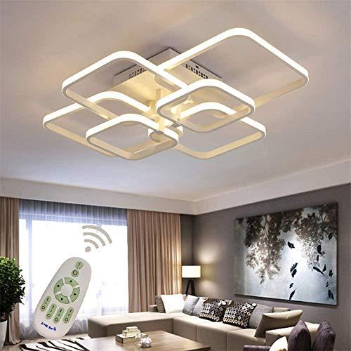 Yilingqi-1 Luces de Techo LED Que se Ajustan Regulables con Control Remoto, lámpara de araña de diseño Cuadrada Moderna, iluminación Colgante de Metal acrílico para Sala de Estar,70 * 58cm 80W