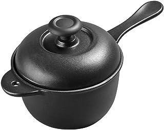 Olla De Cocina Sartén De Leche Hierro Fundido, Sartén Antiadherente Engrosada Para Cocinar Y Guisar La Cacerola De Cocción Lenta,Black