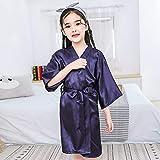 SANJIANG Bata De Kimono De Satén para Niños Albornoz De Moda Camisón De Seda para Fiesta De SPA Regalo De Cumpleaños,I-10