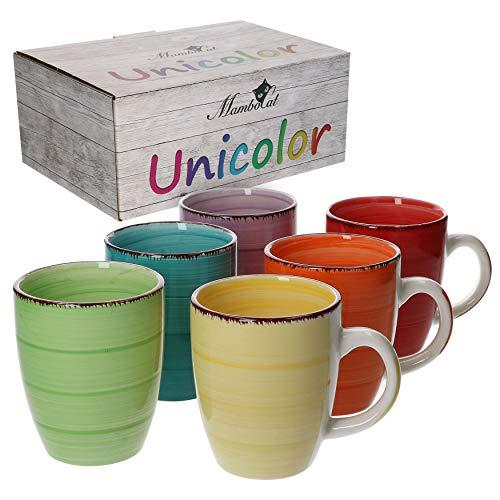 MamboCat 6-TLG. Kaffeebecher-Set Uni bunt Tee-Tasse groß Kaffee-Pott Trink-Becher Kakao-Milch rund 350 ml Geschirr Tafel-Zubehör Frühstück-Buffet