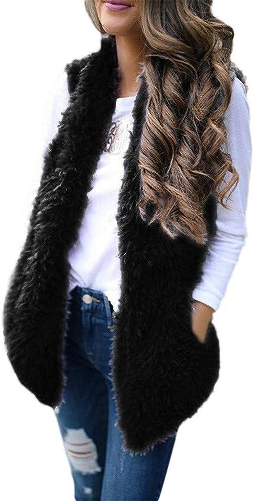 Aniywn Women Faux Fur Vest Coat Sleeveless Jacket Winter Warm Gilet Ladies Shrug Waistcoat Gilet Fluffy Cardigan Outwear