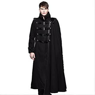 Long Maxi Coats Stand Collar Goth Detachable Shawl Thick Men Winter Trench Coats