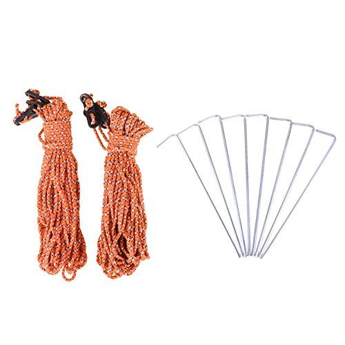 TRIWONDER Clavijas de Aluminio para estacas y líneas Reflectantes Guy con ajustador de cordón para Acampar Rain Fly Hiking (8 Estacas + Cuerdas de (3m x 4 + 8m x 2))