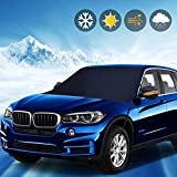 Ovege Car Windshield Cover with Side Mirror Cover-Sunshade Frost Ice Blocker Windproof Outdoor Car Snow Ice Covers-Frost Blocker-Fits Most Cars SUVs Vans