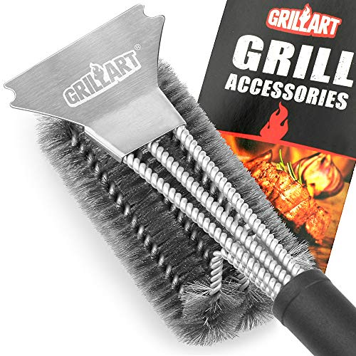 GRILLART Grill Brush and Scraper Best BBQ Brush for Grill, Safe 18' Stainless Steel Woven Wire 3 in 1 Bristles Grill Cleaning Brush for Weber Gas/Charcoal Grill, Gifts for Grill Wizard Grate Cleaner