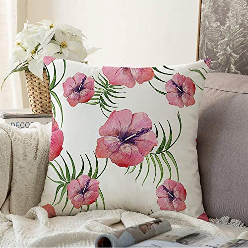 Decorative Throw Pillow Cover Free Green Best Tropical Plants Tropics Flowers Kolaj Nature Pink Bloom Bouquet Brush Celebration Cushion Cover for Sofa Home Decoration 18x18 Inch