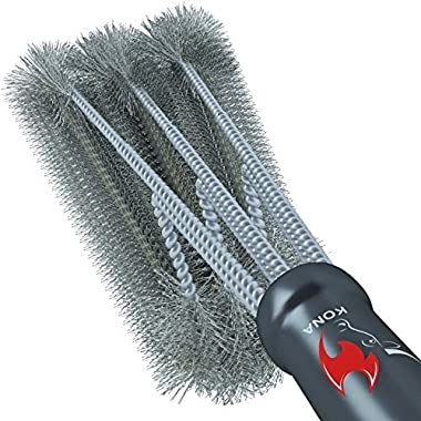 Kona 360° Clean Grill Brush, 18  Best BBQ Grill Brush - Stainless Steel 3-In-1 Grill Cleaner Provides Effortless Cleaning, Great Grill Accessories Gift