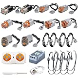 PHYNEDI Goshfun High Speed High Torque MOC Building Blocks Electric Motor Servo Motor Extension Cord Lithium Battery Glow Parts Set, 2.4G Mobile Phone APP Remote Control, Compatible with Lego Technic