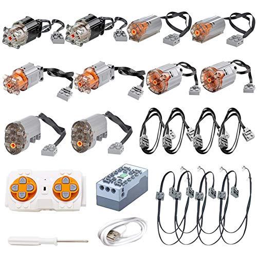 Onenineten Mould King Motor, tecnología Power Functions con 10 motores y mando a distancia de 2,4 GHz, batería de litio y cable alargador e iluminación, compatible con coche teledirigido Lego.