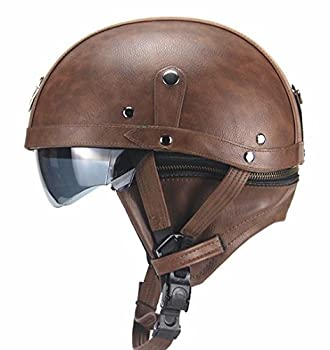 Woljay Leather Motorcycle Goggles - Half Face Vintage Helmets