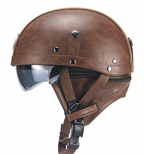 Woljay Leather Motorcycle Goggles Vintage Half Helmets Biker Cruiser Scooter Touring Helmet