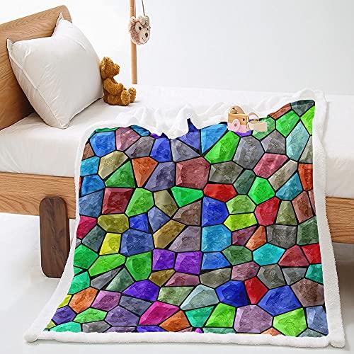 3D Impreso Manta Piedras De Colores Manta De Sofá De Sensación Cómoda Cálida,Manta Forro Polar para Todas Las Estaciones En Microfibra Suave 130X150Cm