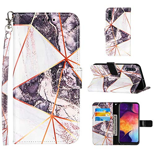 Lijc Compatible with Samsung Galaxy A50/A505/A30S/A50S Case Premium PU Leather Wallet Geometric Marble Design Magnetic Closure Kickstand Card Holder Slots Shockproof Flip Cover-Black and White