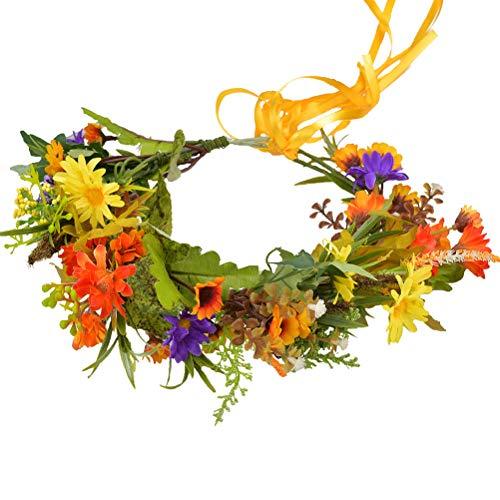 Floral Crown Flower Garland Headband Hair Wreath Floral Headpiece Halo Boho with Ribbon Wedding Party Festival Photos Orange by Vivivalue