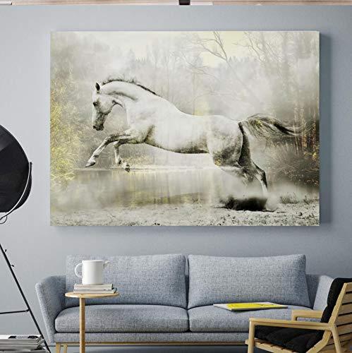 SDFSD leeuw wolf adelaar paard luipaard Nordic poster en afdrukken muurkunst canvas schilderij dier wandschilderijen voor woonkamer wooncultuur 50x70 cm