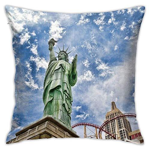 JONINOT Doble Cojines Fundas 18' Estatua de la Libertad Funda de Almohada Suave para la Piel