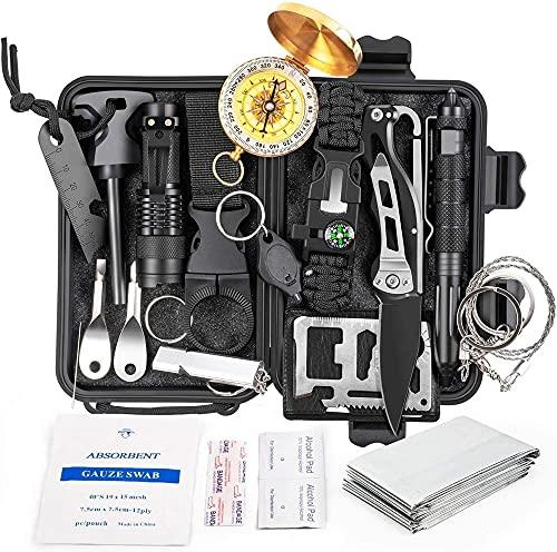 BE-STRONG Kit de Supervivencia de Emergencia 18 en 1, Equipo y Equipo de Supervivencia, Herramienta de Defensa Profesional con Pulseras de Manta de Cuchillo Brújula de Temperatura de Mochila