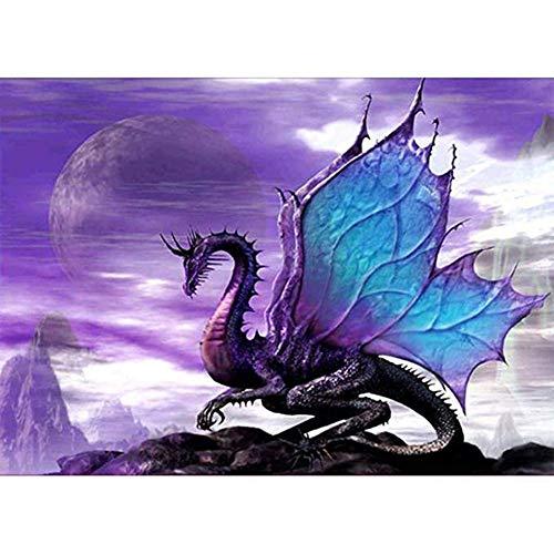 Kit de pintura de diamante 5D, Dragon Purple Game of Thrones Mountain Animals WOWDECOR Taladro completo DIY Diamond Art pintura de punto de cruz por números