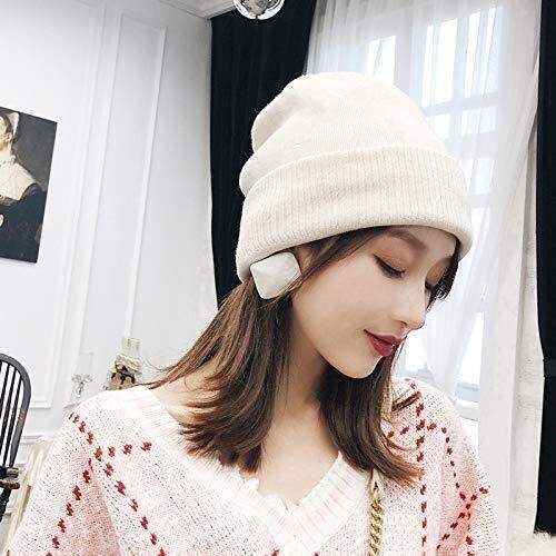 Knit Beanie Hat sombrero de otoo y el invierno casquillo del color slido caliente de espesor sombrero del invierno sombrero casquillo hecho punto invierno salvaje hembra Baotou multifuncin)