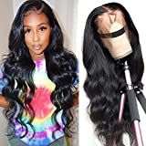 Lace Front Wigs Human Hair Brazlian Body Wave Wigs for Black Women 150% Denisty Virgin Human Hair Wigs Pre Plucked Hairline with Baby Hair Natural Color (16 Inch)