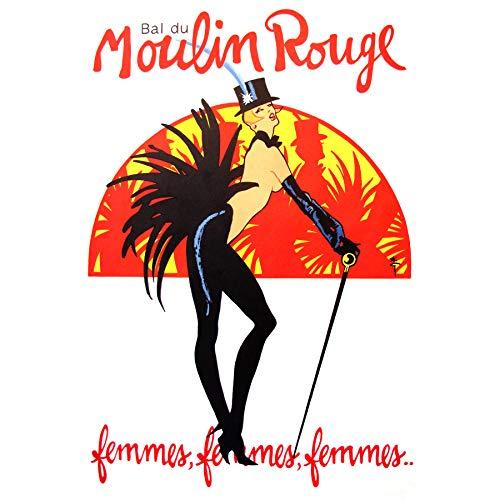 Wee Blauwe Coo Burlesque Moulin Rouge Parijs Meisjes Omlijst Muur Art Print 18X24 In