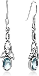 SUVANI Sterling Silver Celtic Knot Blue Topaz Gemstone Oval Drop Dangle Hook Earrings 1.29 inches