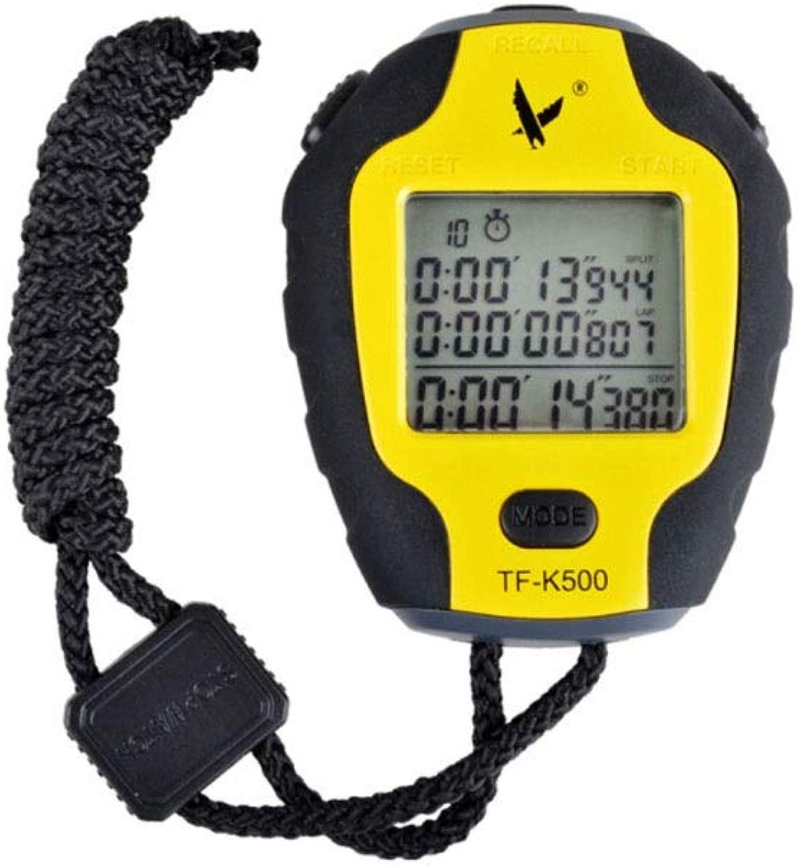 ストップウォッチ、500陸上フィットネストレーニングタイマー、スマート防水コーチランニングストップウォッチ(黄色、84 * 66 * 21 mm)