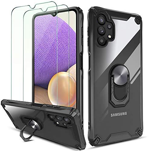 QHOHQ Cover per Samsung Galaxy A32 con 2 Pezzi Pellicola Protettiva,[360° Rotante Staffa] [5X Livello Militare Anti-Caduta Protezione],Cover Posteriore Trasparente per PC,Bordo in TPU Morbido-Nero