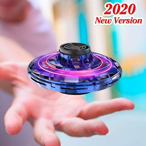 EUMI Flynova Spinner Volador, Mini Dron de OVNI Juego de Interior y Exterior Giro de 360°Detección Auto de Obstáculos Resistente Luz LED Juguete Volador Interactivo de Inducción Infrarrojo Recargable