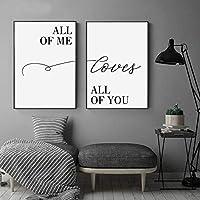 """キャンバスプリントAllof Me Loves All of You Sweet LoveLettersウォールアートペインティングポスター写真寝室の家の装飾15.7 """"x23.6""""(40x60cm)2pcs NoFrame"""