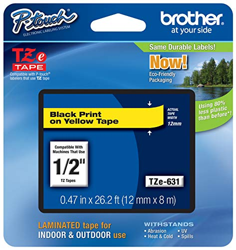 Brother Genuine P-touch TZE-631 Tape, 1/2 (0.47) Standard Laminated P-touch Tape, Black on Yellow, Laminated for Indoor or Outdoor Use, Water Resistant, 26.2 Feet (8M), Single-Pack