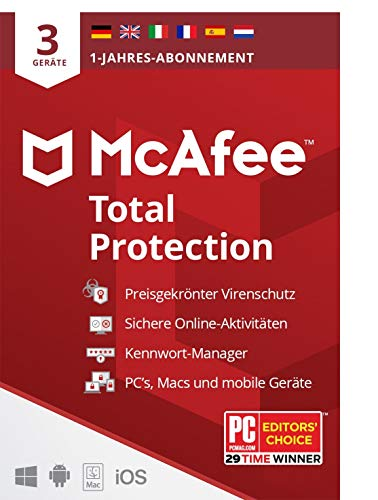 McAfee Total Protection 2021 | 3 Geräte | 1 Jahr | Antivirus Software, Virenschutz-Programm, Passwort Manager, Mobile Security, Multi Geräte | PC/Mac/Android/iOS |Europäische Ausgabe| Per Post