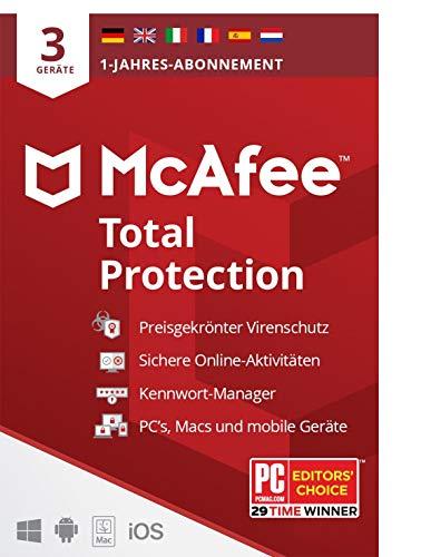 Preisvergleich Produktbild McAfee Total Protection 2021 / 3 Geräte / 1 Jahr / Antivirus Software,  Virenschutz-Programm,  Passwort Manager,  Mobile Security,  Multi Geräte / PC / Mac / Android / iOS / Europäische Ausgabe / Per Post