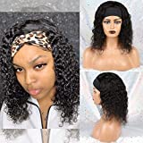 Huarisi Headband Wigs Glueless Water Wave None Lace Wig 100% Human Hair Short Wigs Machine Made Natural Curls Hair For Women