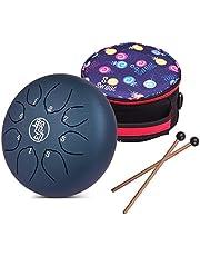 Muslady Handpan-trommel, handpan, stalen tongtrommel, 8 noten, C-knop, slaginstrument met schilders, drumzak, wisdoek voor muzikale opleiding, concert, gedachten, genezing, yoga, meditatie