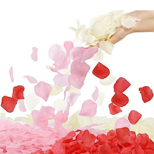 4000 pétalos de rosa artificiales de seda de colores mezclados, pétalos de rosa artificiales para noche romántica, decoración de jarrón de boda, evento, fiesta.
