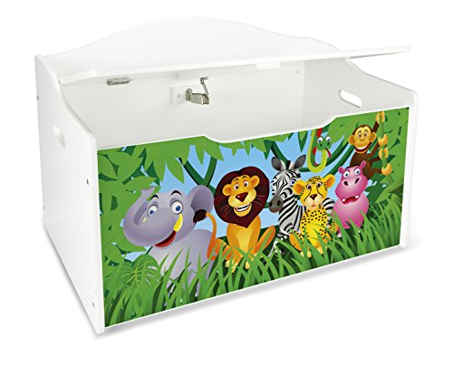 Leomark Caja de Madera XL Banco Blanco con Almacenamiento para Juguetes, Accesorios Baúl de Juguetes Tema: Zoo Animales, Dim: 68 x 42 x 46 (alto) cm