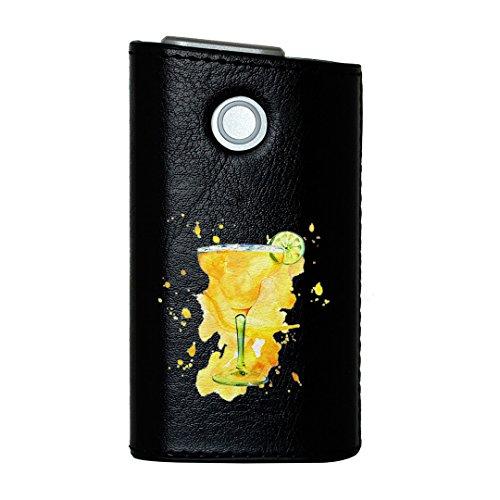 glo グロー グロウ 専用 レザーケース レザーカバー タバコ ケース カバー 合皮 ハードケース カバー 収納 デザイン 革 皮 BLACK ブラック カクテル お酒 黄色 014587