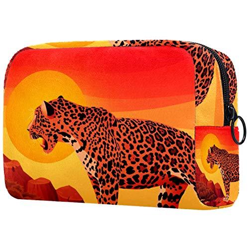 Cosmetic Case Organizer Cartoon Leopard Travel Makeup Bag Compact Makeup Case Portable Toiletry Bag for Women Girls 18.5x7.5x13cm