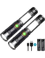 Linterna LED Recargable Alta Potencia Militar COB Ajustable Portátil Linterna para Reparación del Coche, y Emergencia, Ciclismo, Camping, Montañismo (Con USB 18650 Batería & Base Magnético)