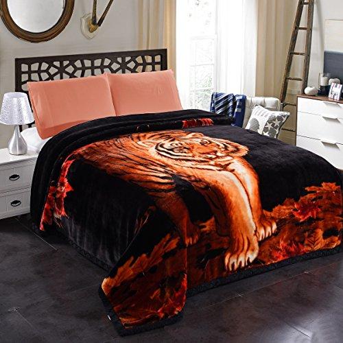 "JML 10 Pounds Heavy Plush Soft Blankets for Winter, Korean Style Mink Velvet Fleece Blanket – 2 Ply A&B Printed Raschel Bed Blanket 85"" x 93"" (Tigers)"