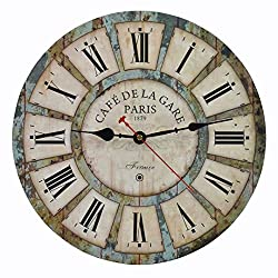 Old Oak 14-Inch Decorative Wall Clock Vintage Silent Non-Ticking for Kitchen Living Room Bathroom Bedroom Wall Decor with Roman Numerals