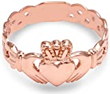 Claddagh Rings Ladies 10k Rose Gold with Trinity Band (9)